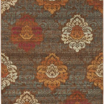 Surya Hathaway HAT3007 Brown/Red Medallion and Damask Area Rug