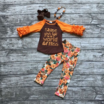 In Stock -shine your light on the world little miss pant set