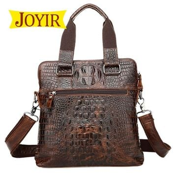 JOYIR New Fashion Genuine Leather Man Briefcase Vintage Shoulder Handbag Alligator Shaped Crossbody Bag male Messenger Bags