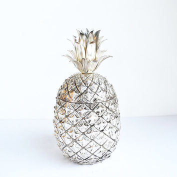 Vintage Silver Pineapple Ice Bucket Italian Pineapple Ice Bucket Mauro Manetti Mid Century Hollywood Glam Barware Pina Colada Ice Chest