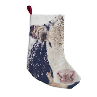 "Debbra Obertanec ""Snowy Cow"" Black White Christmas Stocking"