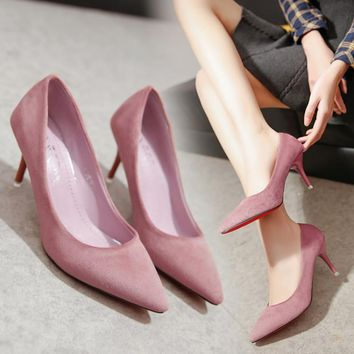 Spring Velvet High-Heeled Shoes Women Thin Heels Wedding Party Pointed Toe Shoes Professional Work Shoes