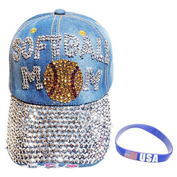 Bling Softball Mom Medium Washed Denim Baseball Cap Hat +FREE BRACELET