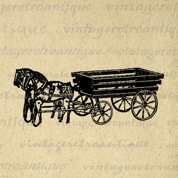 Antique Toy Wagon Graphic Digital Image Printable Illustration Download Vintage Clip Art for Transfers etc HQ 300dpi No.1211