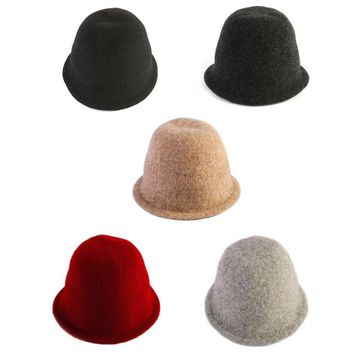 Unisex Mens Womens Winter Wool Bowler Boonie Outdoor Cap Hunting Bucket Hats
