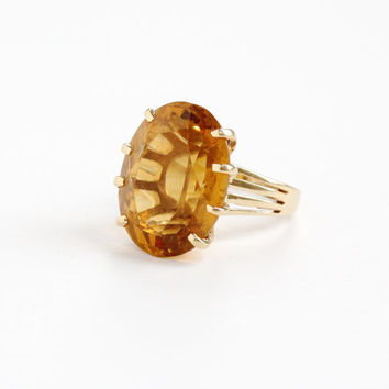 Vintage 14k Rosy Yellow Gold Retro Citrine Ring -  Size 6 Mid-Century 1960s 1970s Orange Yellow Gemstone Fine Statement Jewelry