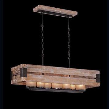 Eurofase Lighting 26365-015 Cesto Wood Seven-Light 11.75-Inch Wide Rectangular Wood Mini-Chandelier