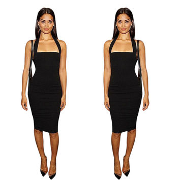 Women Spaghetti Strap Bandage Dress Bodycon Mini Sexy Club Dress Party Pencil Dresses vestidos femininos INY66
