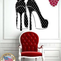 Wall Stickers Vinyl Decal  Sexy High Heel Shoes with Polka Dots and Bows Unique Gift EM504