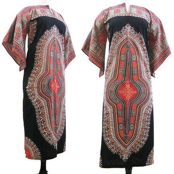 Vintage Dashiki Dress 60s 70s Tunic Caftan Angel Sleeves Hippie Boho Festval S M