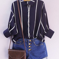 Dark Blue Striped Loose Polo Shirt
