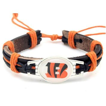 New Design Cincinnati Bengals Football Team Leather Bracelet Adjustable Leather Cuff Bracelet For Men and Women Fans 10PCS