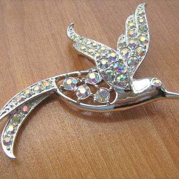 Bird of paradise rhinestone brooch vintage Sarah Coventry