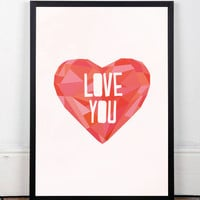 Love quote poster, Love quote art, Romantic art poster, Wall art, Home decor, Romantic gift, A4, Geometric heart, Inspirational art, Poster