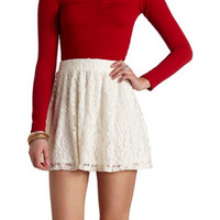 HIGH-WAISTED LACE SKATER SKIRT
