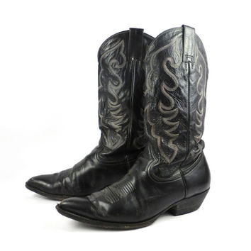 Shop Vintage Black Cowboy Boots on Wanelo
