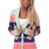 Mint Aztec Patterned Cardigan