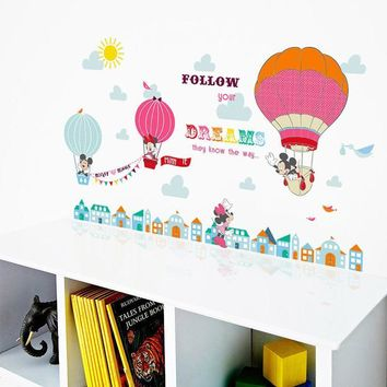 Cartoon Mickey Minnie Mouse Balloon Home Decals Wall