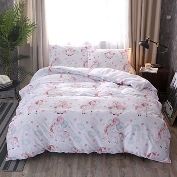Cartoon White Duvet Cover Cute unicorn star Bedding set polyester Bed Set Single Twin queen king size drop shipping