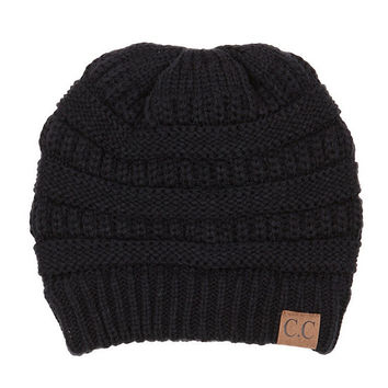 C.C Solid Ribbed CC Beanie | Dillards