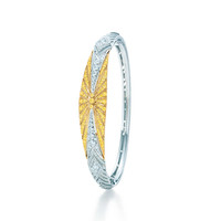 Tiffany & Co. - Bangle in platinum and 18k gold with yellow and white diamonds.