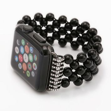 Handmade Black Agate 5 Beads Elastic Band Watch Strap for apple watch series 1 and series2 38mm 42mm Watchband