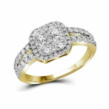10kt Yellow Gold Women's Round Diamond Square-shape Cluster Split-shank Ring 1-1-4 Cttw - FREE Shipping (US/CAN)