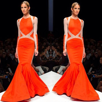 Orange Long Sleeve Cutout Back Mermaid Dress