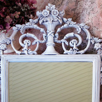 Vintage Beveled Wall Mirror Rectangle Antique White Frame Ornate French Shabby Chic Nursery