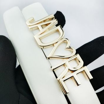 DIOR fashion casual men's and women's belts hot letter gold buckle belt White