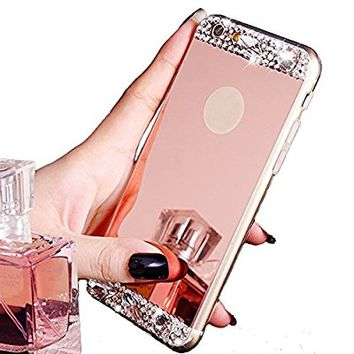 iPhone 7 Case,Inspirationc Beauty Luxury Diamond Hybrid Glitter Bling Soft Shiny Sparkling with Glass Mirror Back Plate Cover Case for iPhone 7 4.7 Inch--Rose Gold Diamond