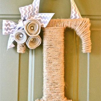 Front Door Wreath Twine Monogram Winter Fall or Spring with Flowers and Chevron Ribbon