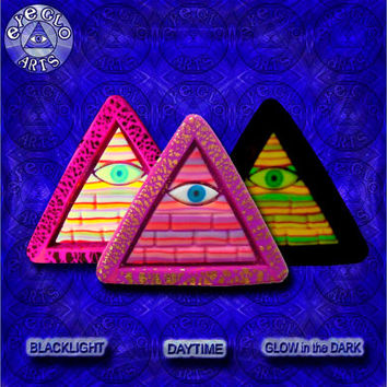 Glow in the Dark Illuminati Pyramid Pendant Purple Orange Pink Stripe Gold Leaf EyeGloArts Handmade Blacklight jewelry UV wearable Art