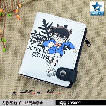 Detective Conan White Wallet/Anime Case Closed Coin Purse with Interior Zipper Pocket