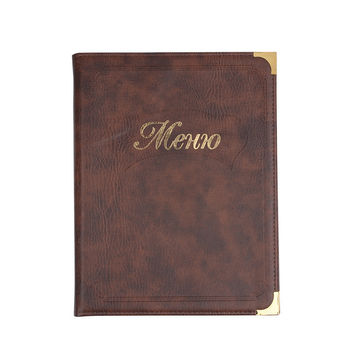 Custom Leather Recipes Upscale Restaurant Carte Menu Folder A4 Leaflet Transparent Cover Plate Wine List Holder
