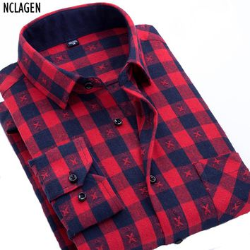 NCLAGEN 2017 New Korean Flannel Red Plaid Shirt Men Women Casual Slim Fit Social Long Sleeve Stripe Camisas Masculina Plus Size