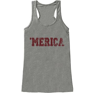 Custom Party Shop Women's Merica 4th of July Grey Tank Top