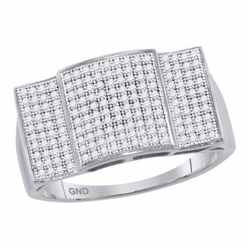 10kt White Gold Mens Round Pave-set Diamond Rectangle Dome Cluster Ring 1/2 Cttw