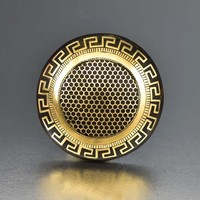Outstanding 14K Gold Tortoise Shell Pique Brooch