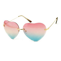ROMWE Heart Shaped Fading Color Sunglasses