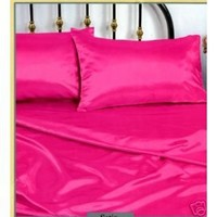 Pink Silky Queen Satin Pillowcase, Fitted and Flat Sheet Set