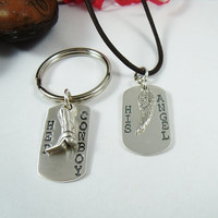 Cowboys and Angels Necklace and Keychain Set  - Her Cowboy His Angel Stamped Sterling Dog Tag Set