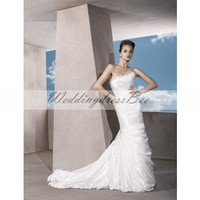 Elegant one shoulder sleeveless satin wedding dress