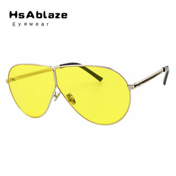 HsAblaze Eyewear New Sunglasses For Women Vintage Oversized Sunglass Clear Brand Designer Sunglasses Men Mirror Zonnebril Mannen