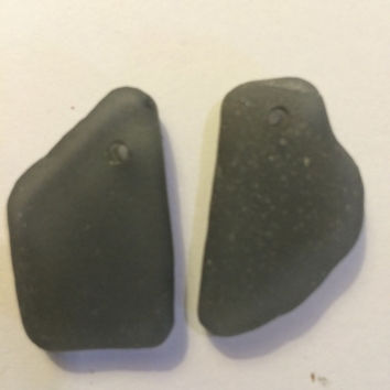 Two beautifully frosted grey texas sea glass galveston texas top drilled supply, sea glass bulk, found beach glass, sea glass supplies