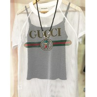 GUCCI loose-fitting short sleeve t - shirt women perspective 100 build hollow-out half - sleeve mid - long jacket