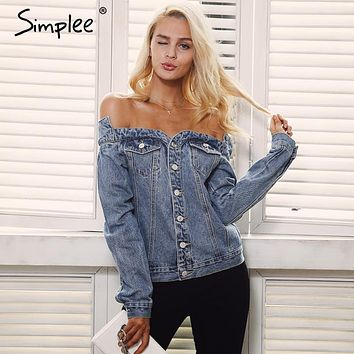 Simplee Sexy off shoulder denim jacket coat Women autumn casual slash neck jeans outerwear coat Female winter basic jackets