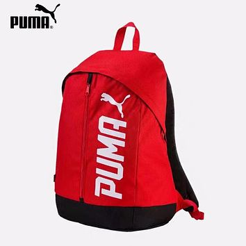 PUMA fashion sells casual men's and women's large-lettered printed backpacks Red