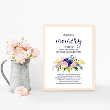 Forever in our hearts sign, In loving memory sign, Navy blue wedding sign, Printable customized wedding sign, Memorial wedding sign download