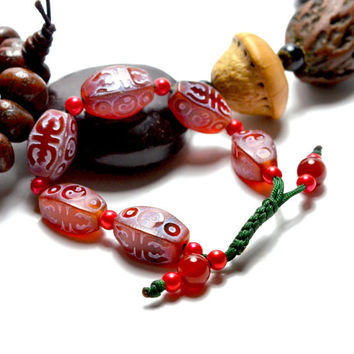 Auspicious Yin Yang Feng Shui Sacral Script Bracelet, Carnelian Carved Gemstone Beads, Adjustable 6-9 inches